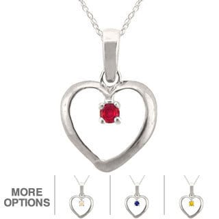 10k Gold Round-shape Birthstone Heart Necklace