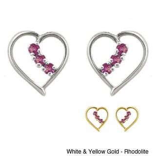 10k Gold Birthstone Prong-set Heart Designer Earrings