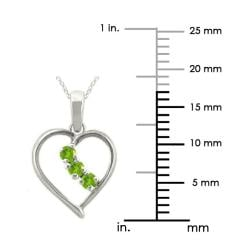 10k Gold Large Designer August Birthstone Peridot 3-Stone Heart Necklace - Thumbnail 2