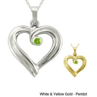 10k Gold Large Designer Birthstone Ribbon Heart Necklace