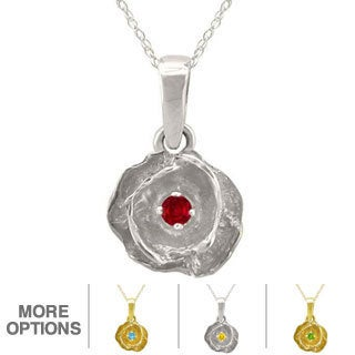 10k Gold Designer Birthstone Flower Necklace