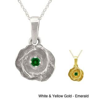 10k Gold Designer Birthstone Flower Necklace