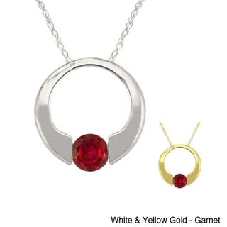 10k Gold Birthstone Circle Necklace