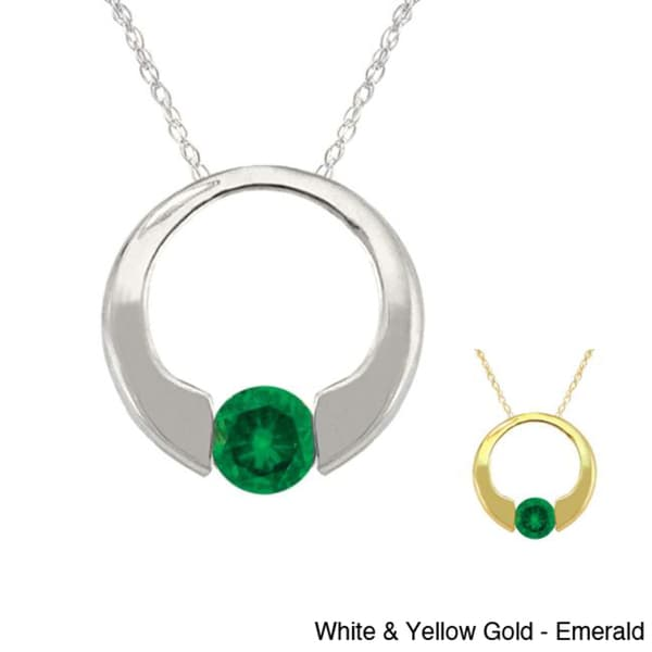 10k Gold Birthstone Circle Necklace