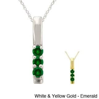10k Gold Birthstone 3-stone Necklace