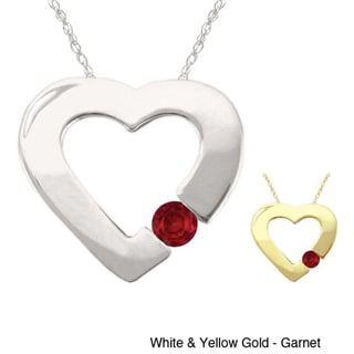 10k Gold Birthstone Contemporary Bold Heart Necklace