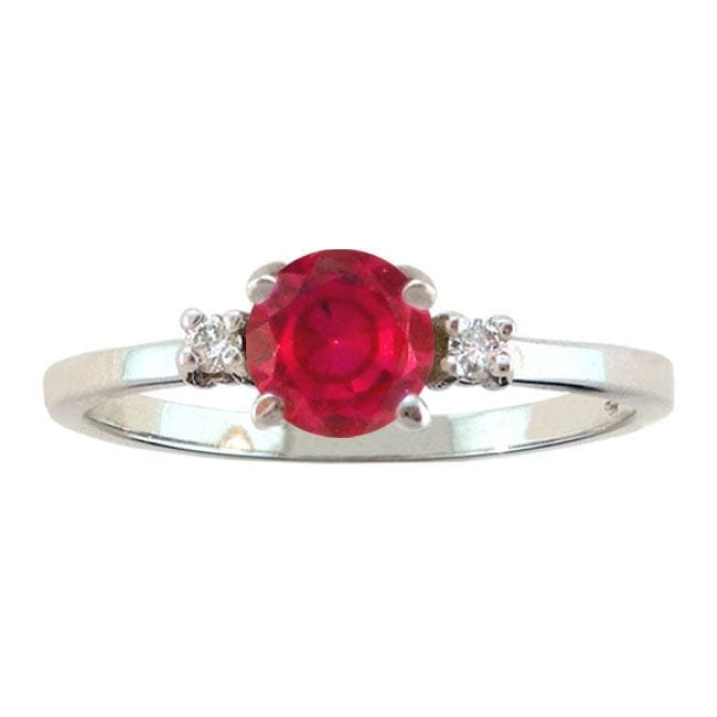 10k Gold July Birthstone Created Ruby and Diamond Ring