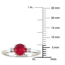 10k Gold July Birthstone Created Ruby and Diamond Ring - Thumbnail 2