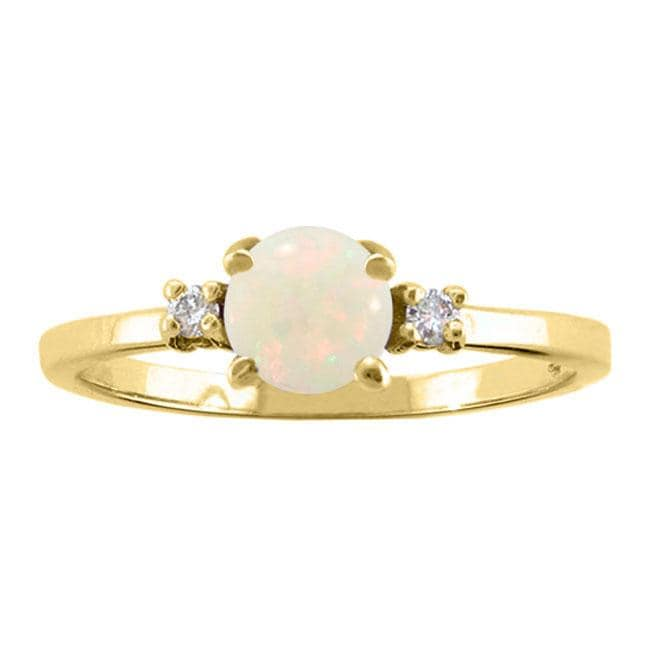 10k Gold October Birthstone Opal and Diamond Ring