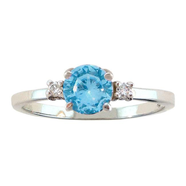 Shop 10k Gold December Birthstone Swiss Blue Topaz And Diamond Ring