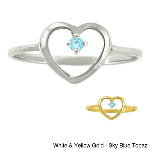10k Gold Birthstone Petite Designer Heart Ring