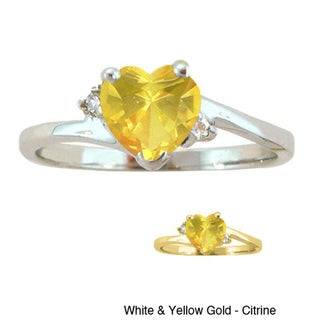 10k Gold Birthstone and Diamond Heart Ring