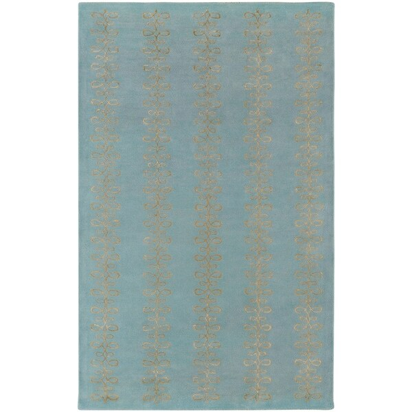 Hand-tufted Designer Sky Blue Stripe Geometric Wool Area Rug - 5' x 8'
