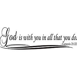 Design on Style 'God is with You in All That You Do' Bible Verse Vinyl Wall Art Quote