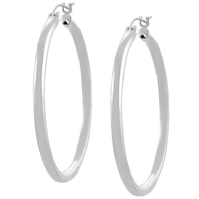 Journee Sterling Silver 45-mm Hoop Earrings
