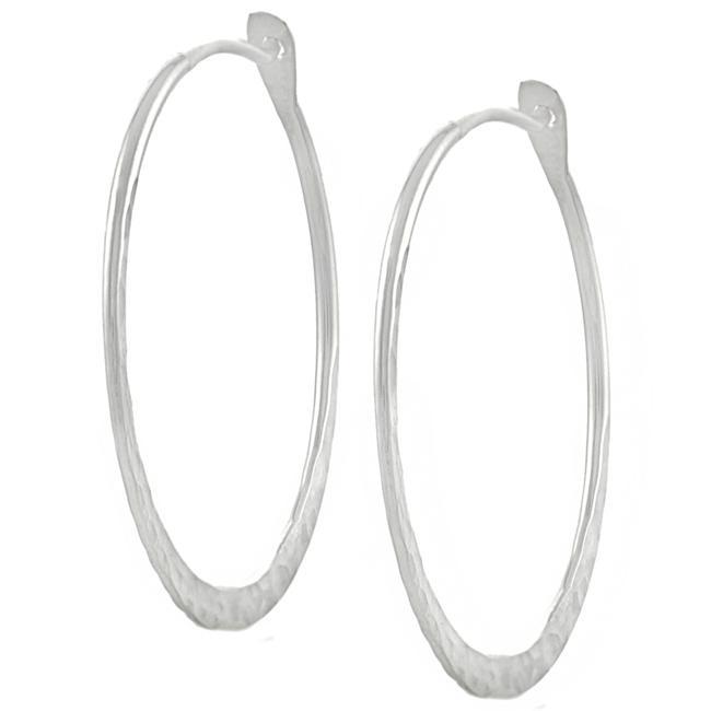Journee Sterling Silver 40-mm Hammered Hoop Earrings