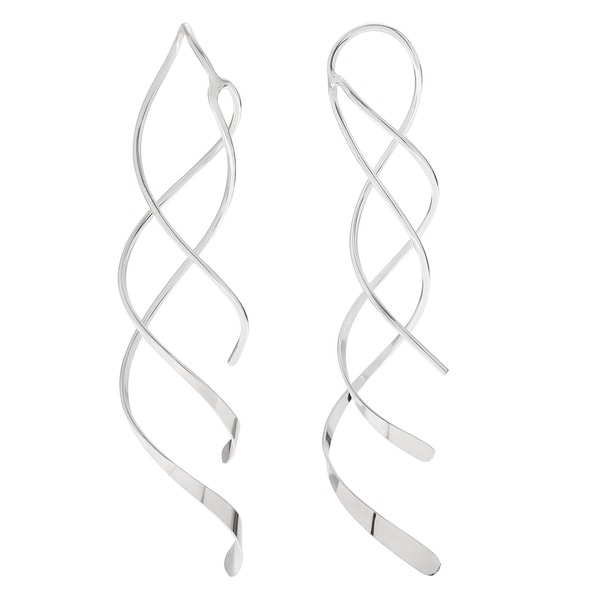 Sterling Silver Handmade Double Spiral Dangle Earrings