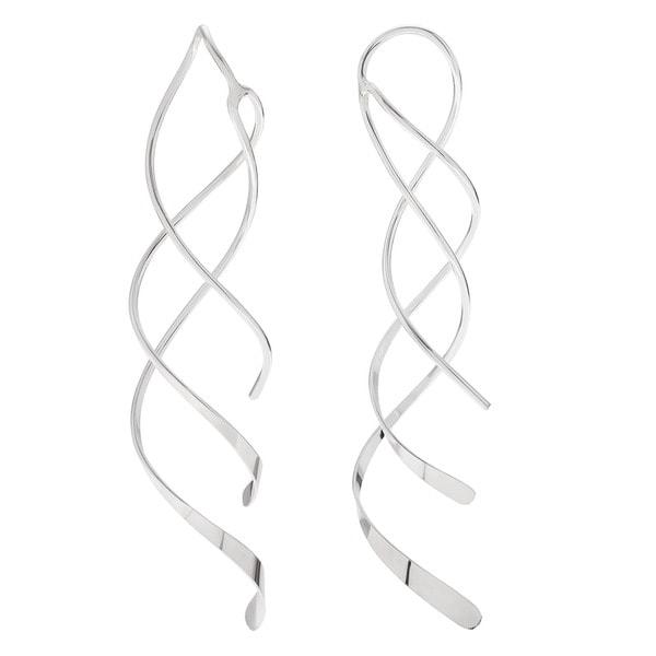 Sterling Silver Handmade Double Spiral Dangle Earrings