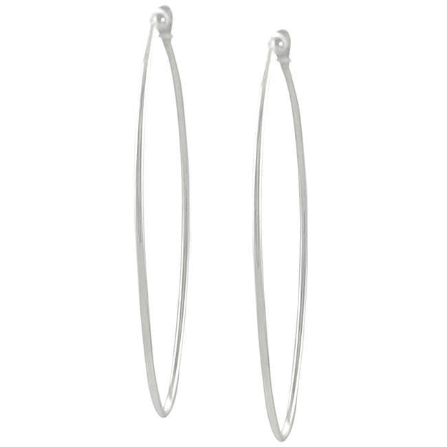 Journee Collection  Sterling Silver 56-mm Oval Hoop Earrings