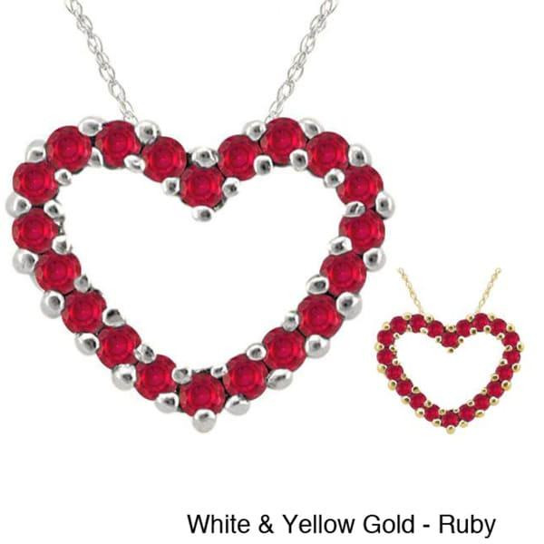 10k Gold Birthstone Heart Necklace