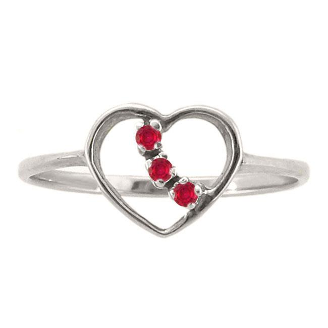 10k Gold Created Ruby 3-stone Heart Ring