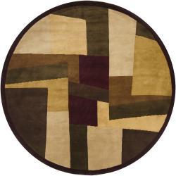 "Hand-Knotted Mandara New Zealand Wool Geometric Rug (7'9"" Round)"