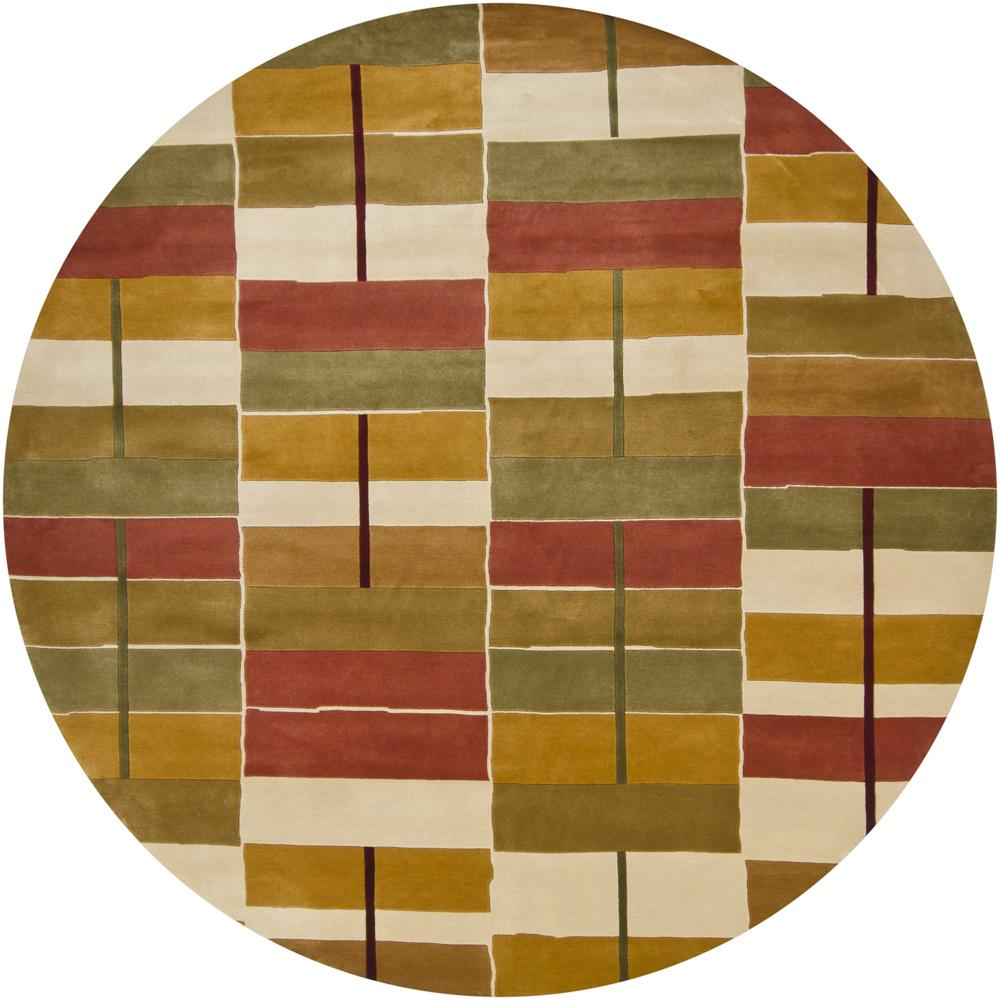 Artist's Loom Hand-knotted Contemporary Geometric Wool Rug (7'9 Round) - 7'9