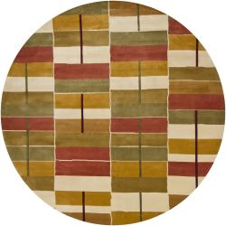Artist's Loom Hand-knotted Contemporary Geometric Wool Rug (7'9 Round) - Thumbnail 0