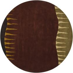 Artist's Loom Hand-knotted Contemporary Abstract Rug (7'9 Round) - Thumbnail 1