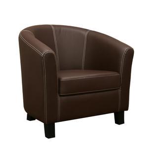 Elijah Dark Brown Faux Leather Modern Club Chair