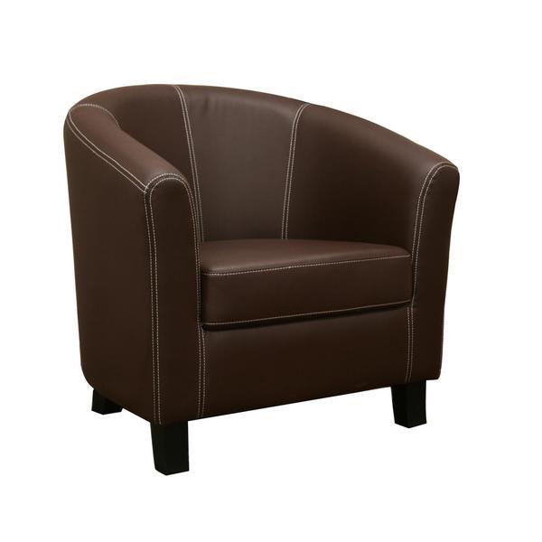 Elijah Dark Brown Faux Leather Modern Club Chair Free
