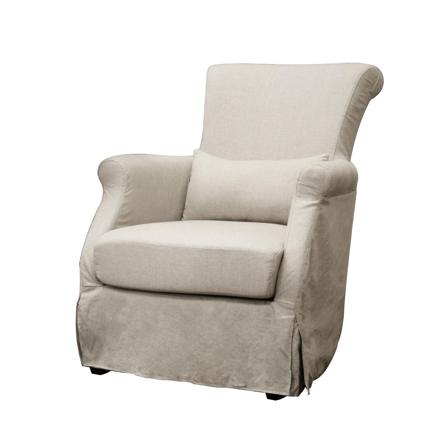Carradine Beige Linen Slipcover Modern Club Chair Free