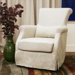Carradine Beige Linen Slipcover Modern Club Chair