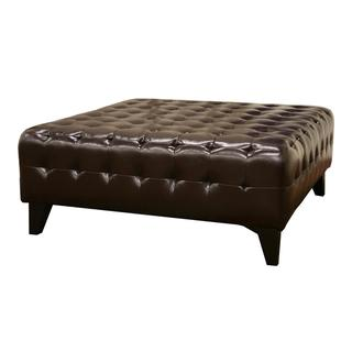 Pemberly Dark Brown Bonded Square Leather Ottoman