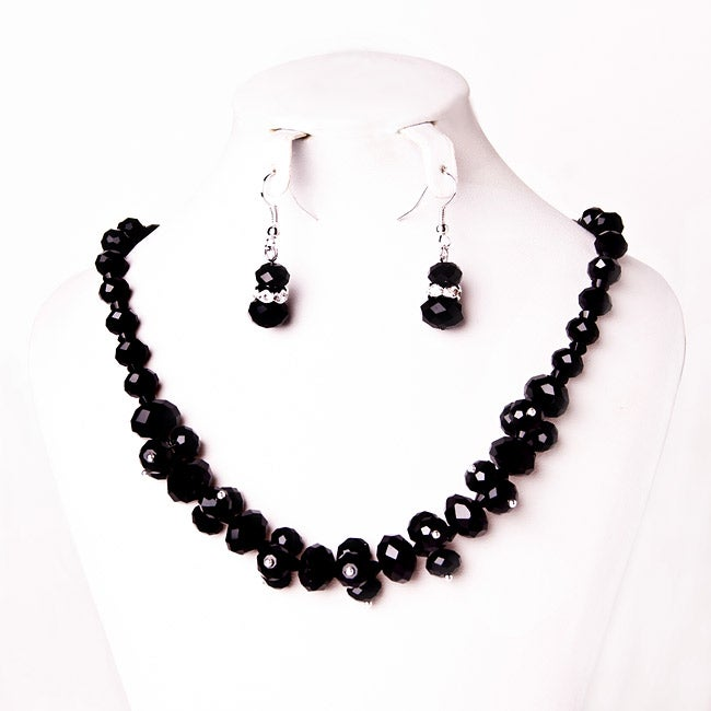 Jet Black Crystal Cluster Jewelry Set