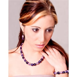 Glass and Crystal Purple, Lavender and White Jewelry Set - Thumbnail 1