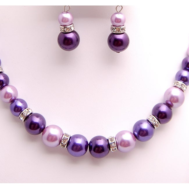 Glass and Crystal Purple, Lavender and White Jewelry Set - Thumbnail 2
