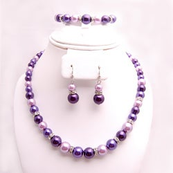 Glass and Crystal Purple, Lavender and White Jewelry Set