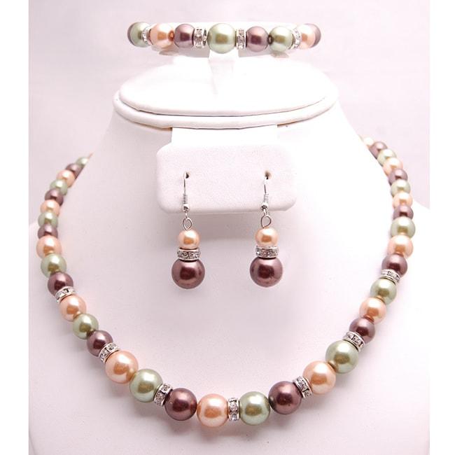 Glass and Crystal Green/Tangerine/Purple Jewelry Set