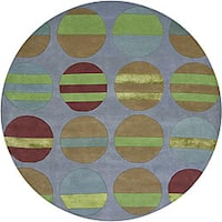 Artist's Loom Hand-tufted Contemporary Geometric Rug (7'9 Round) - 7'9