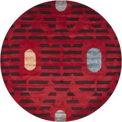 Artist's Loom Hand-tufted Contemporary Geometric Rug (7'9 Round)