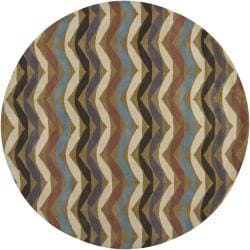 Artist's Loom Hand-tufted Contemporary Geometric Wool Rug (7'9 Round) - Thumbnail 0