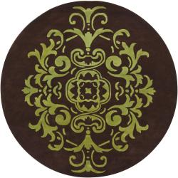 Hand-tufted Mandara Brown/ Green Floral New Zealand Wool Rug (7'9 Round)