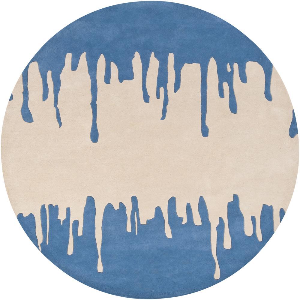 Hand-tufted Mandara Geometric Blue New Zealand Wool Rug (7'9 Round)