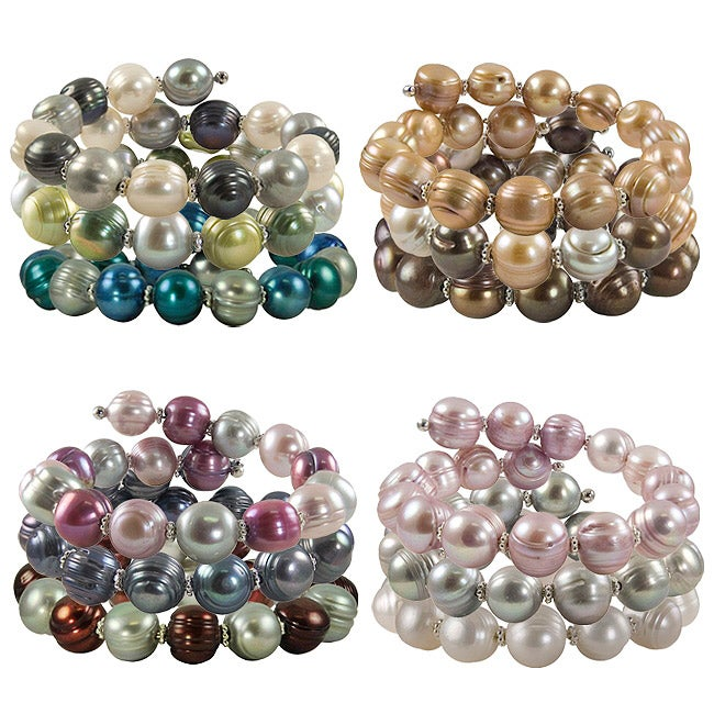 Pearls For You Sterling Silver Freshwater Pearl Bangle Bracelet (11-12 mm)