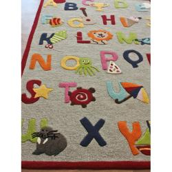 Thumbnail Nuloom Hand Carved Kids Alphabets And Letters Beige Wool Rug 5 X27