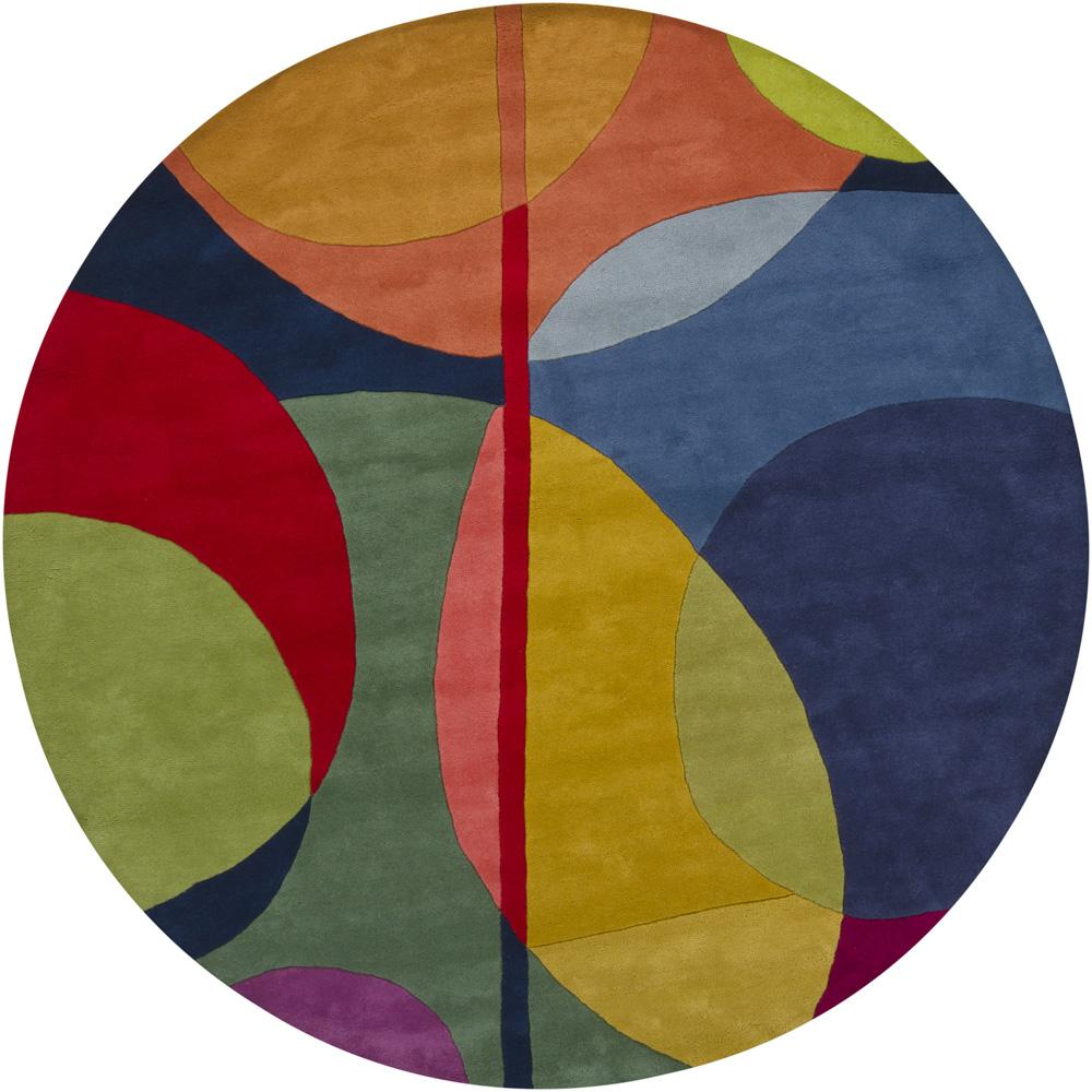 Hand Tufted Erima Multi New Zealand Wool Rug 7 9 Round