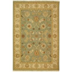 Indo Hand-woven Sumak Light Blue/ Beige Rug (6' x 9')