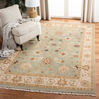 Safavieh Couture Sumak Handmade Flatweave Light Blue/ Beige Wool Area Rug - 6' x 9'