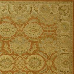 Indo Hand-woven Sumak Rust/ Beige Rug (4' x 6') - Thumbnail 1